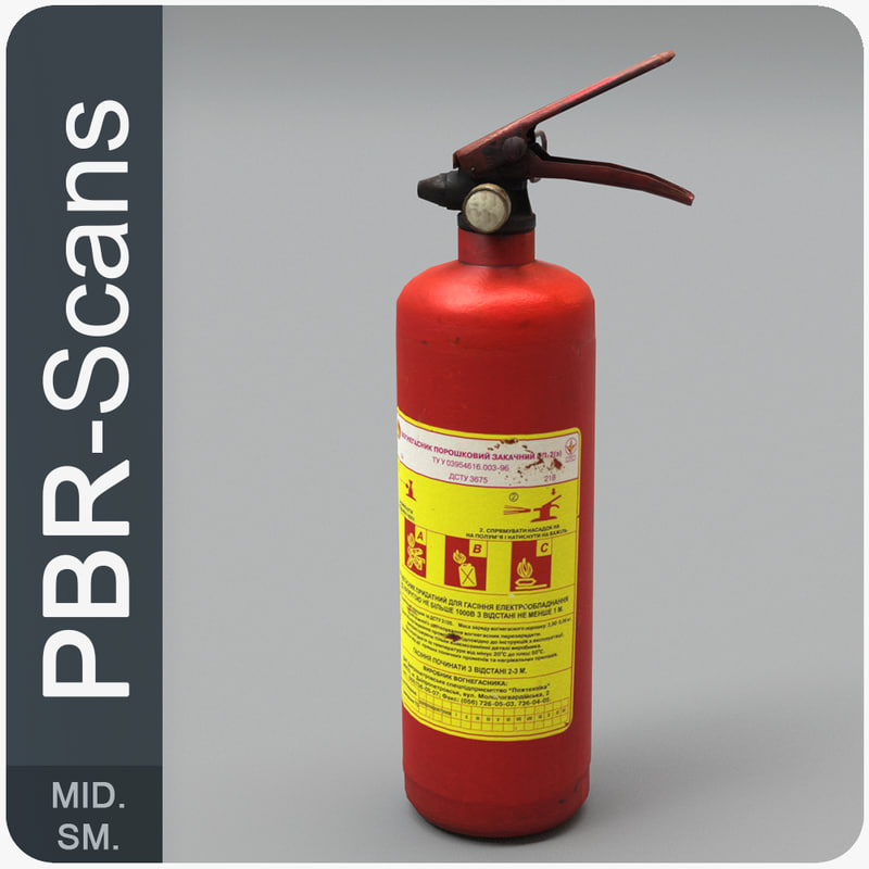 3D extinguisher pbr scan model