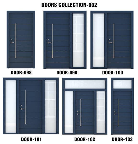 3D blue wood door
