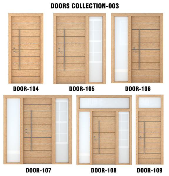 3D light wood door model