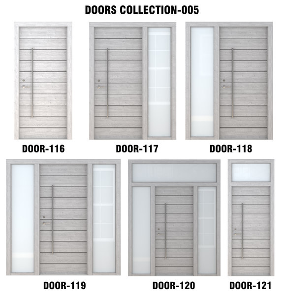 3D gray wood door