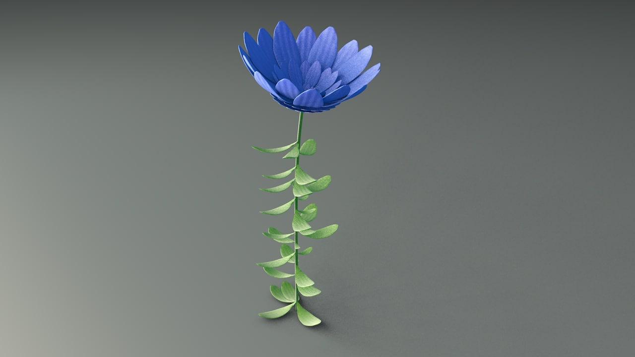 3D rising flower model