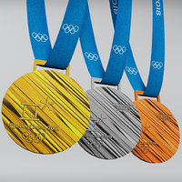 Pyeongchang 2018 olympic medal low poly