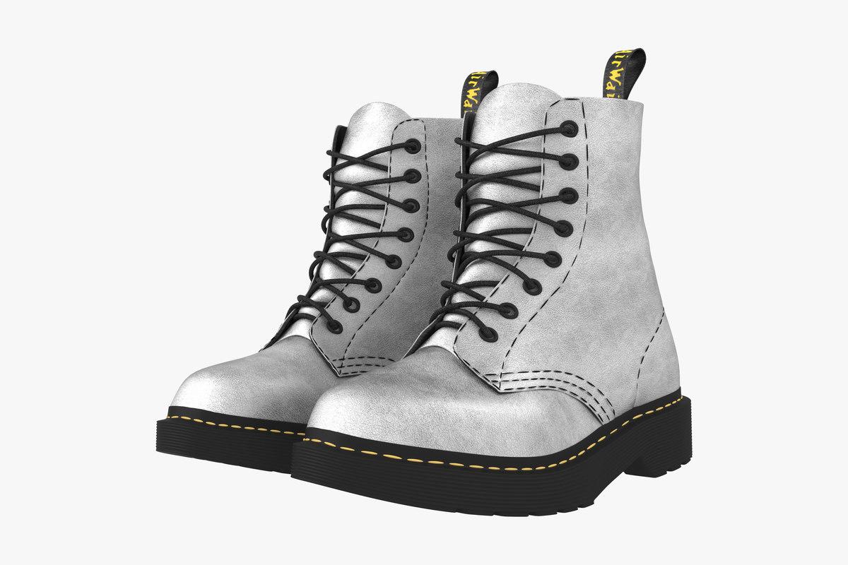 3D boot silver model