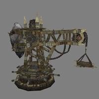 3D model wooden crane