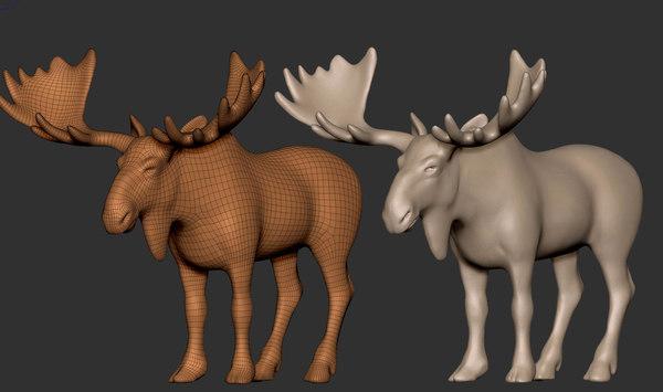 moose running animals 3D model