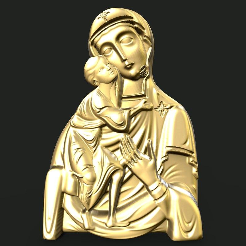 mary jesus pendant 3D model