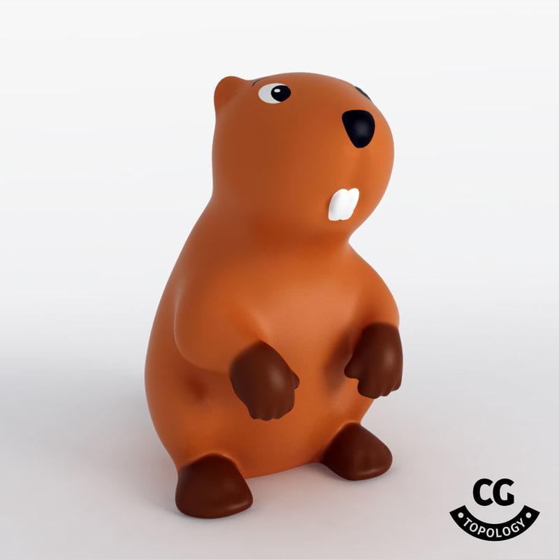 3D model bath toy beaver