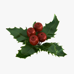 3D holly mistletoe sprig