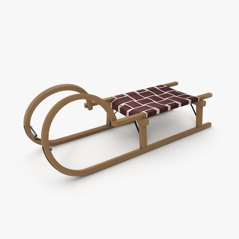 3D sledge sled wood model