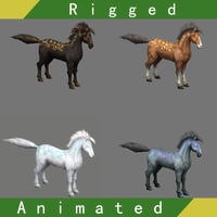 3D horse rigged animations model