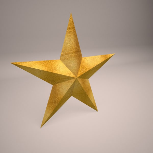 3D gold star model