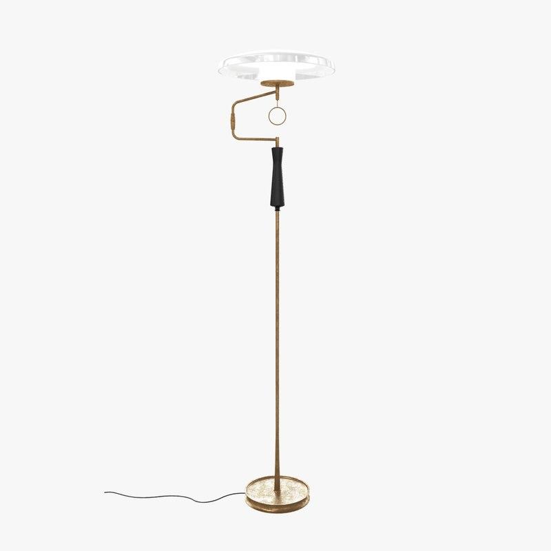 3D floor lamp custom metal brass model