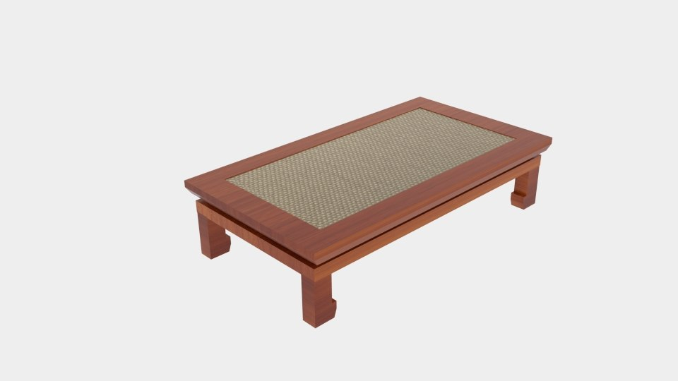 3D japanese keyaki wood table model
