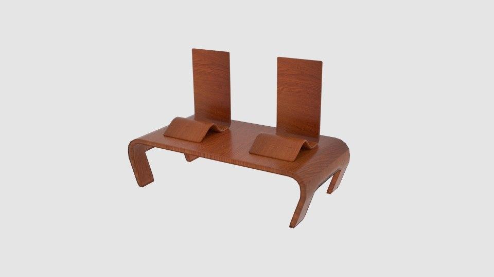 chabudai japanese table flat 3D model