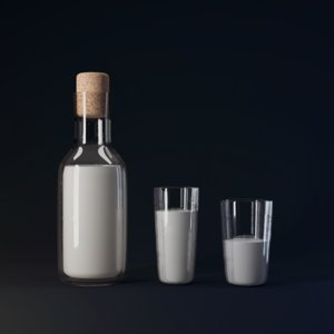 bottle glasses milk 3D model