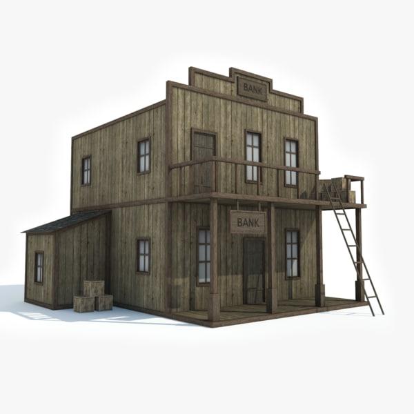 3D model ready western bank