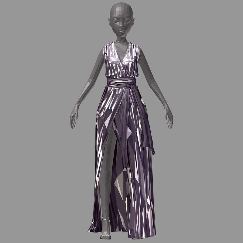 3D lowpolygon art women summer model