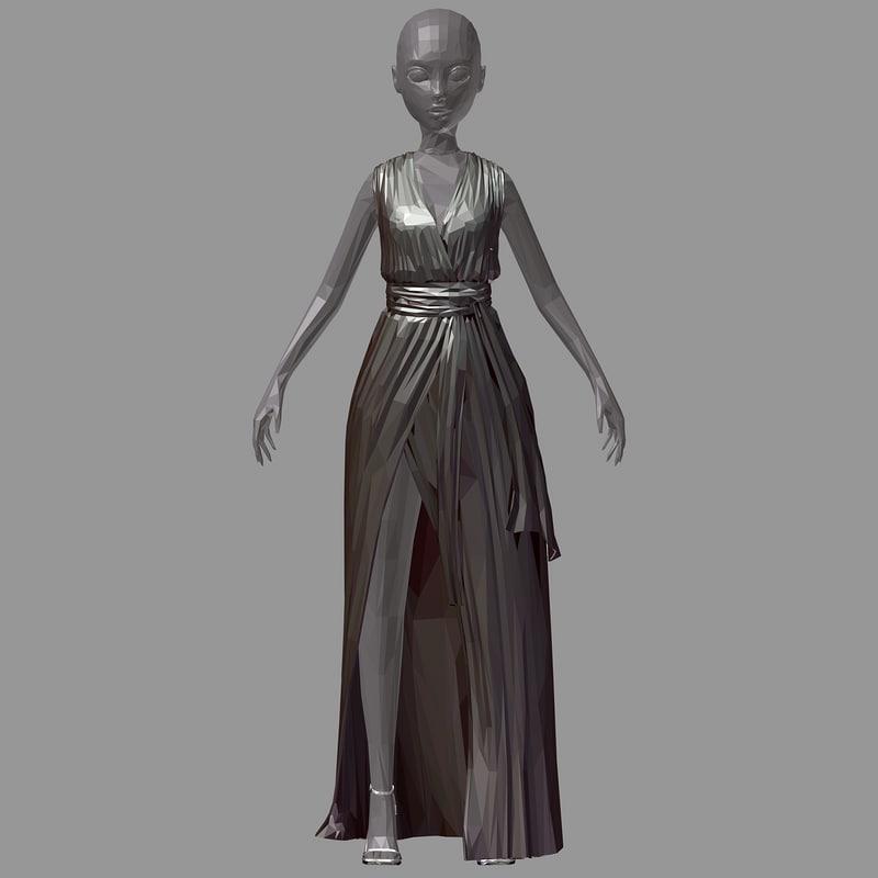 3D model polygonal women summer long