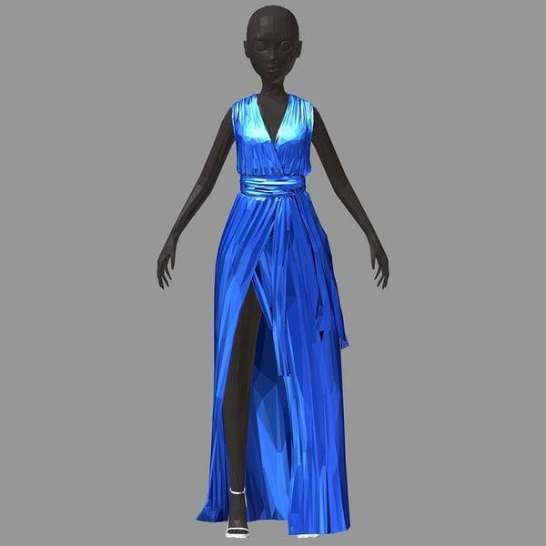 Schuhe kleid langes blaues Blaues Abendkleid