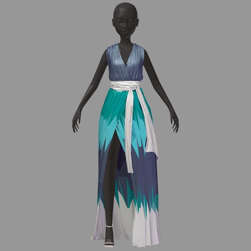 3D model art women summer long