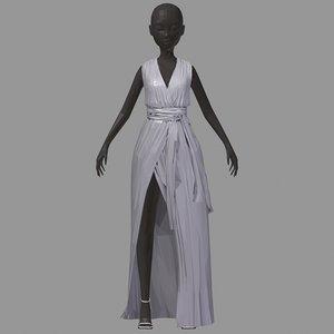 art women summer long 3D model