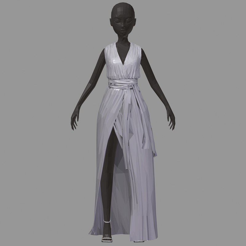 art women summer long 3D model
