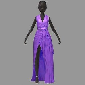 3D polygonalart long lilac dress