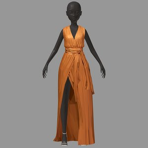 3D art long orange dress model