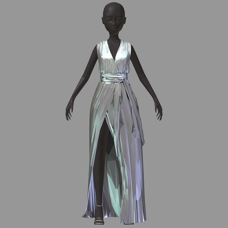 polyart long silber dress 3D model