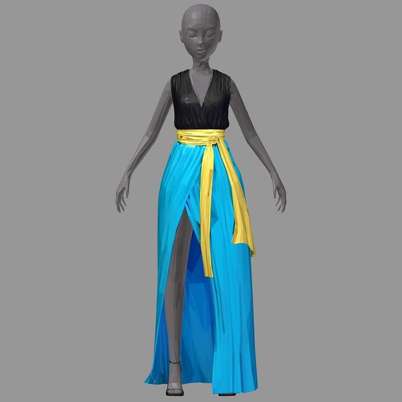 3D polyart long skyblue dress model