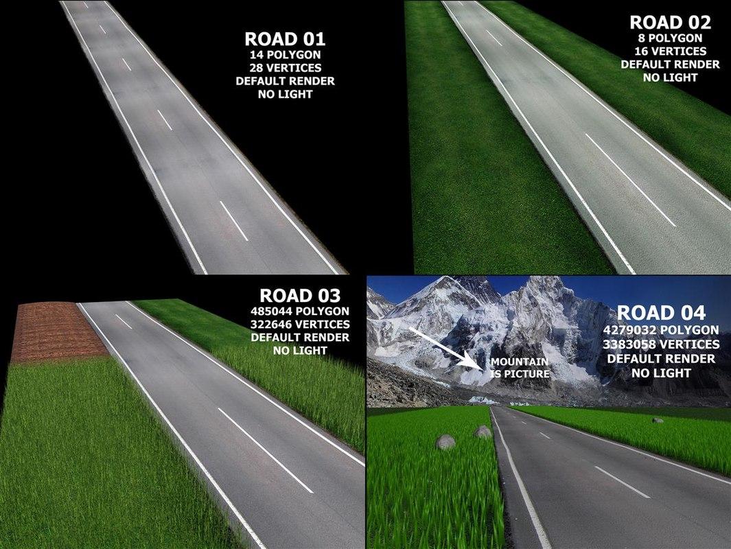 3D street highway asphalt road model