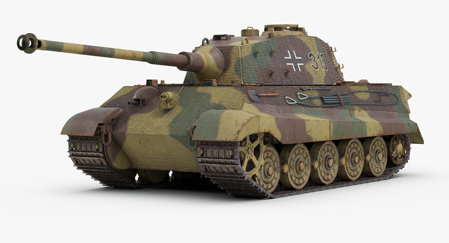 ww2 german tiger 2 tank 3d model turbosquid 1231505