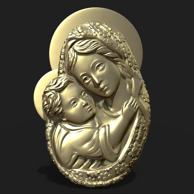 mary jesus child pendant 3D
