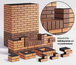 3D model brick wall