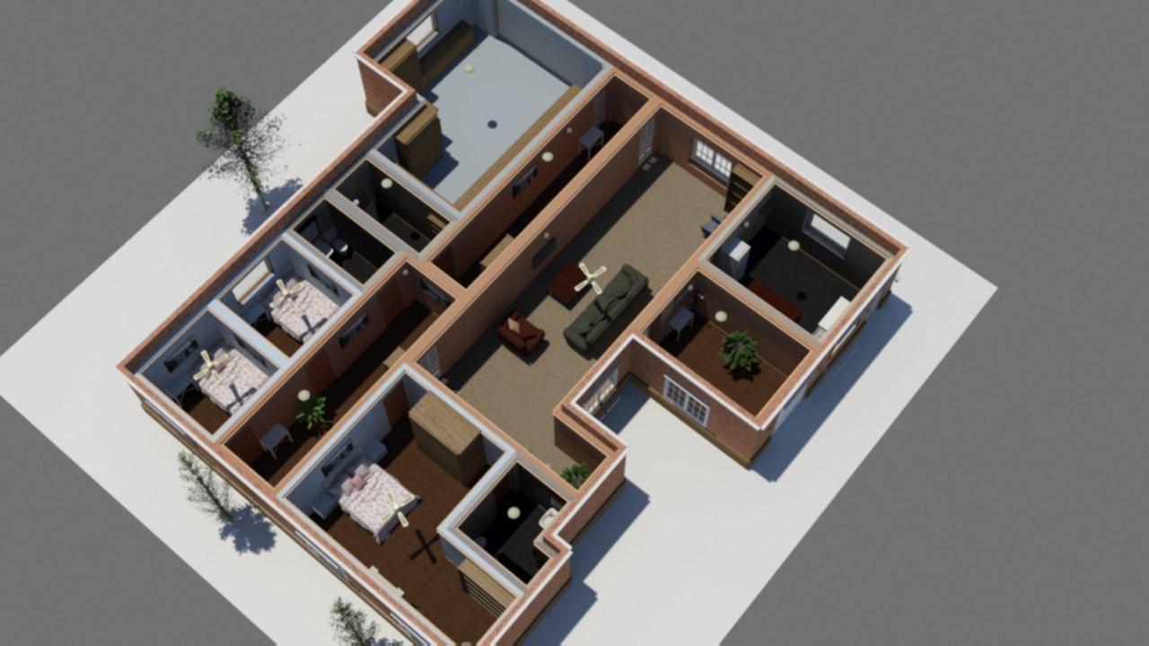 furnish floor house interiors 3D model