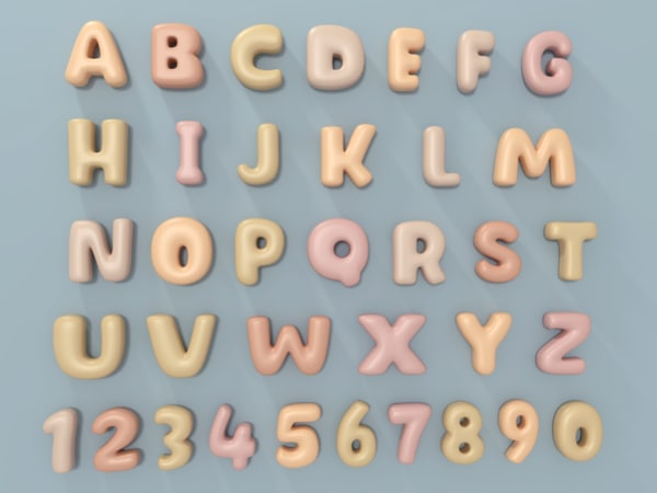 3D balloon alphabet model