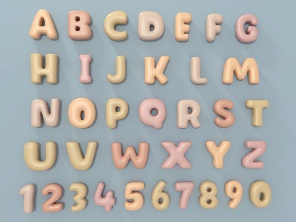 3D balloon alphabet model