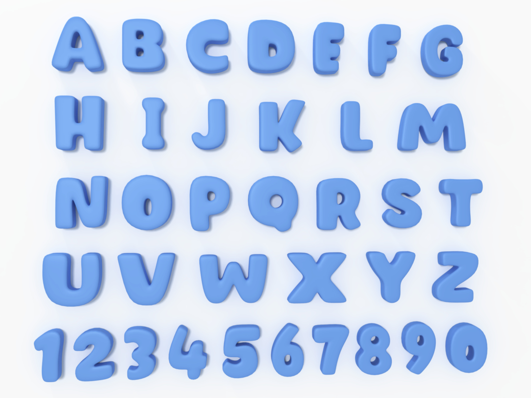 3D cartoon alphabet