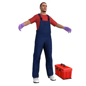 3D janitor man