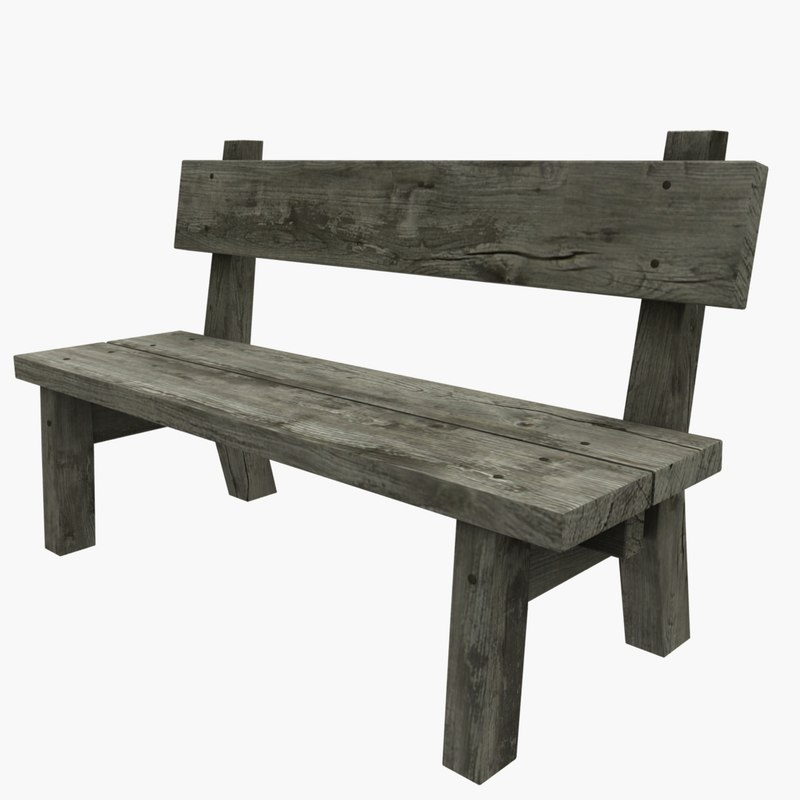 Superieur ... 3D Model Old Wooden Bench ...