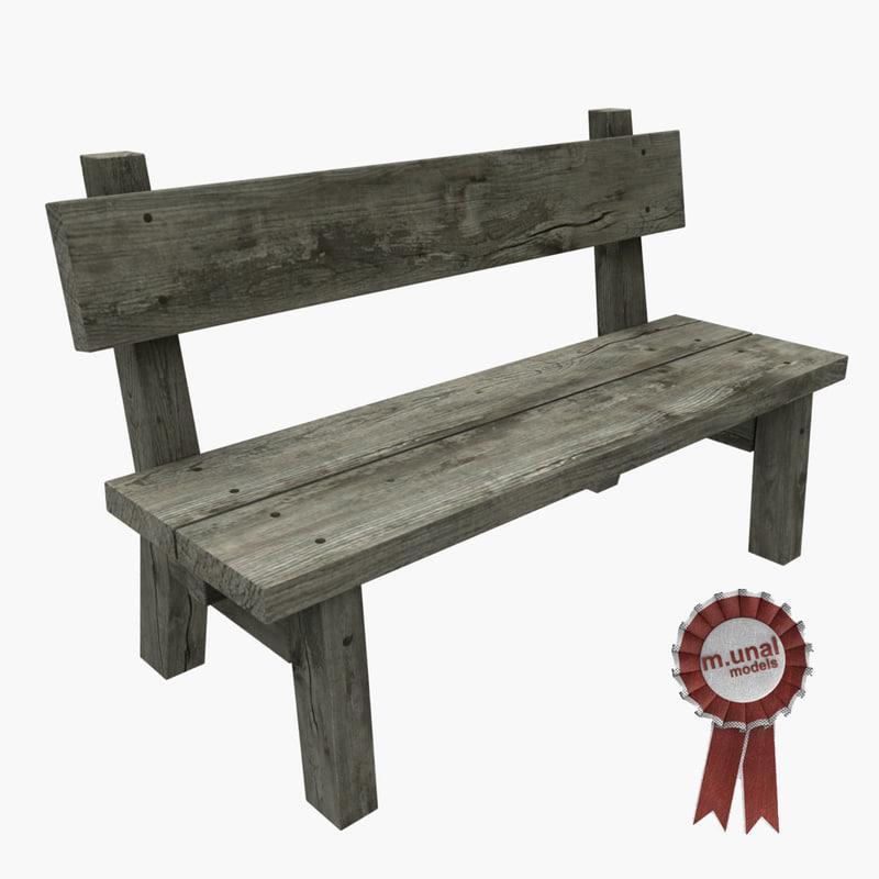 3D model old wooden bench