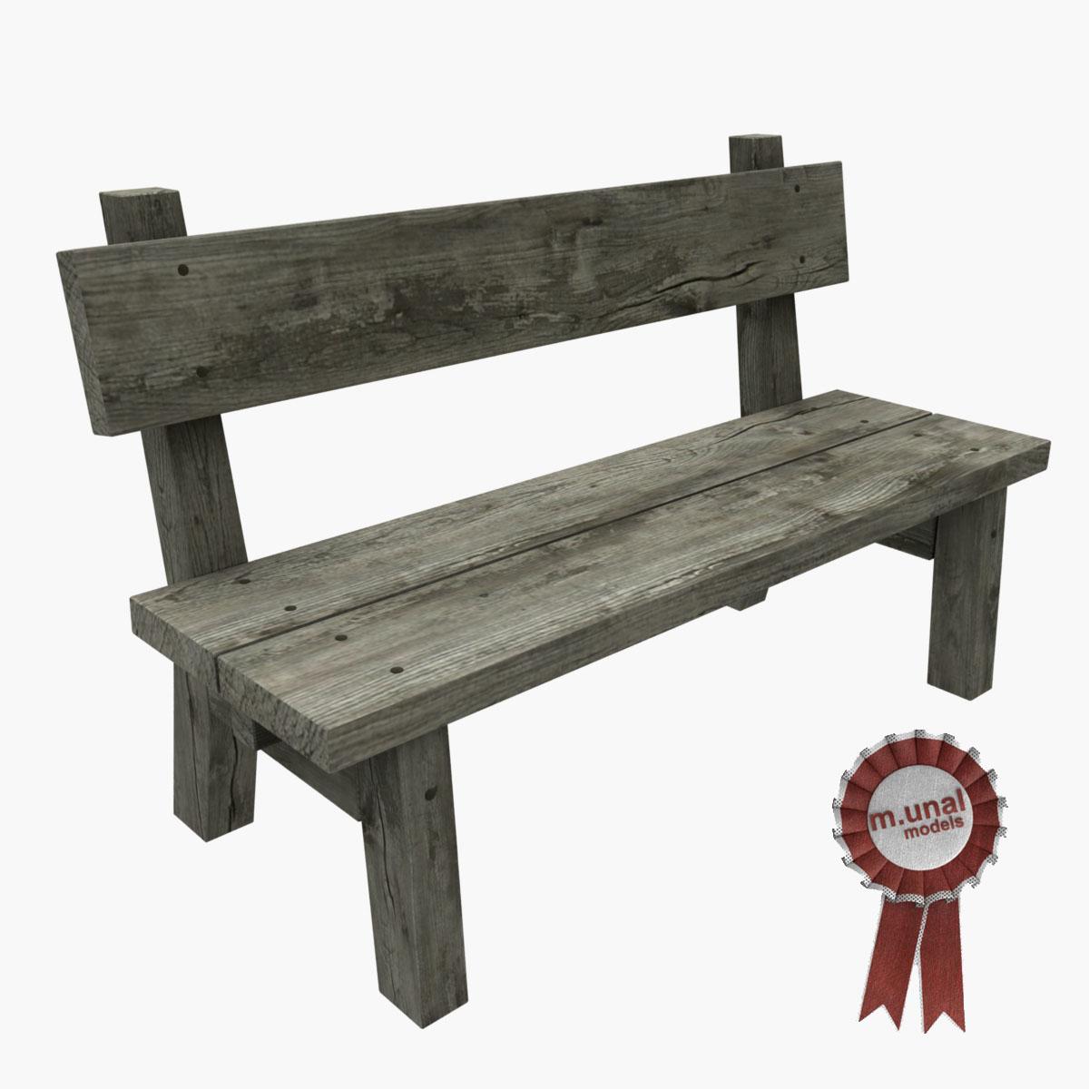 Model Old Wooden Bench Turbosquid