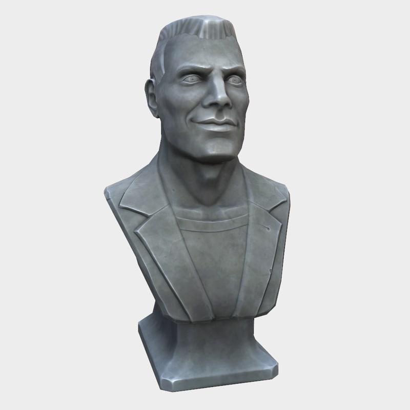 3D stylized man bust model