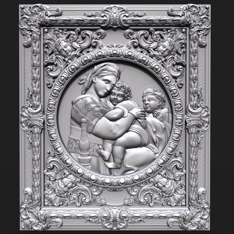 bas relief madonna chair 3D model