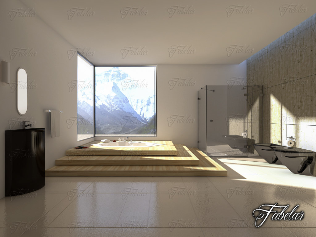 3D model bathroom scene