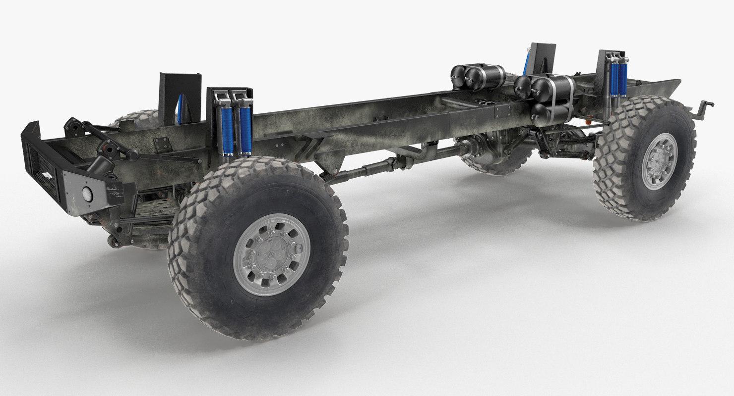 3D model racing truck kamaz chassis
