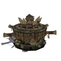 ancient wood winch 3D model