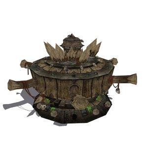 ancient wood winch 3D model