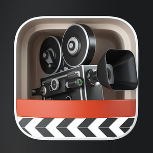 3D film movie camera icons model
