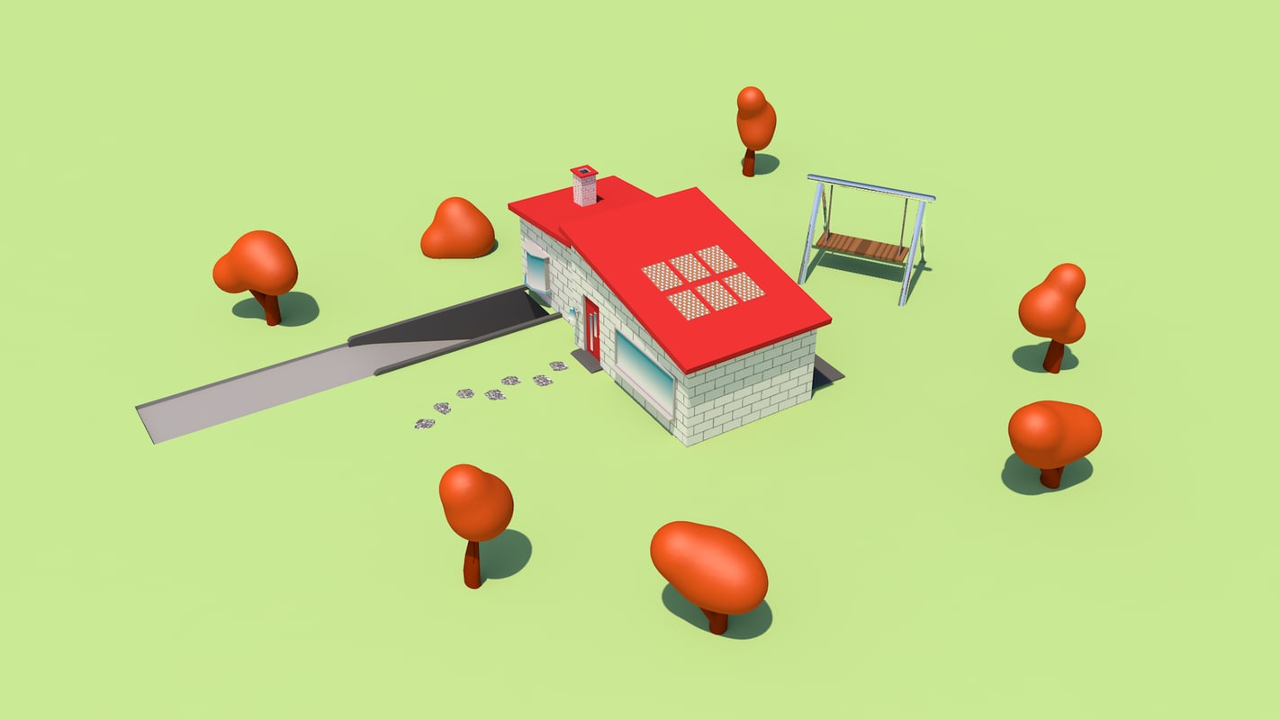 simple house trees 3D model